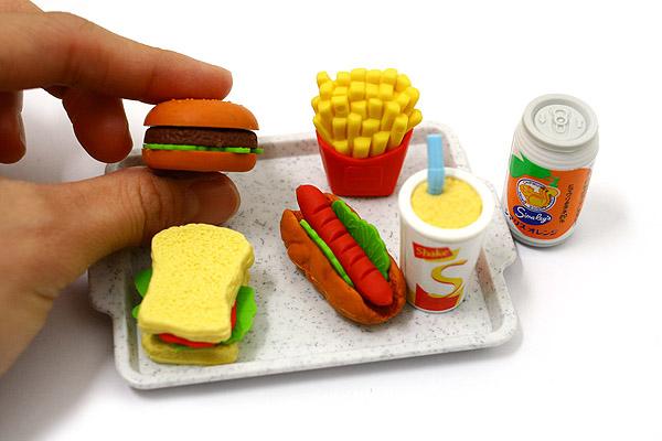 Iwako American Fast Food on Tray Novelty Eraser - 6 Piece Set - IWAKO ER-961099
