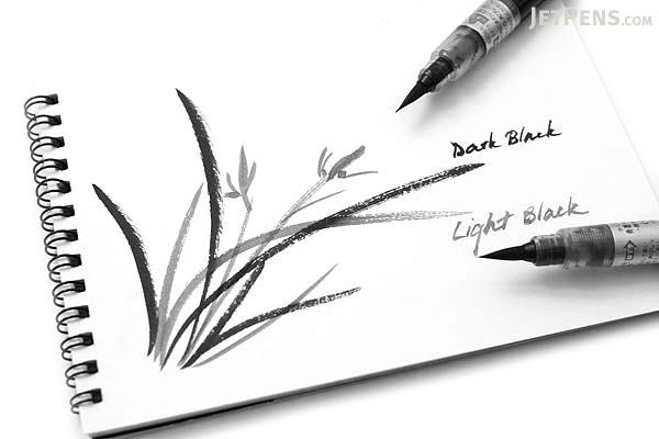 Pentel Aquash Watercolor Brush Pen - Pigment Ink - Light Black - PENTEL XFRH-MN