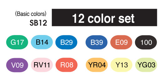 Copic Sketch Marker - 12 Basic Color Set - COPIC SB12