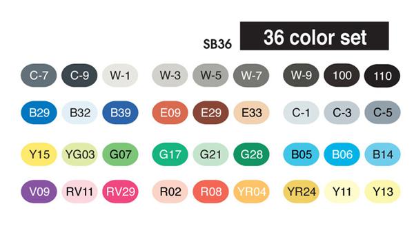 Copic Sketch Marker - 36 Basic Color Set - COPIC SB36