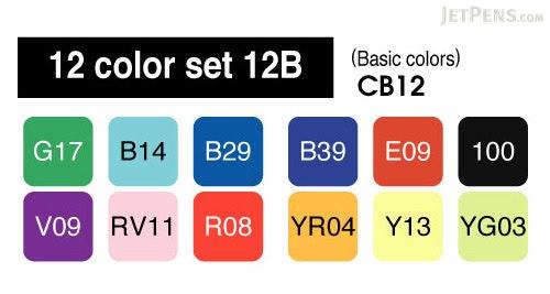 Copic Marker - 12 Basic Color Set - COPIC CB12