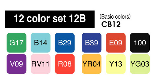 Copic Marker - 12 Basic Color Set - COPIC CB12