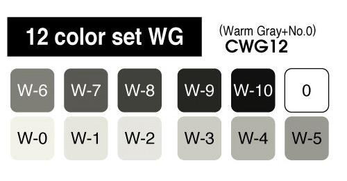 Copic Marker - 12 Warm Gray Set - COPIC CWG12