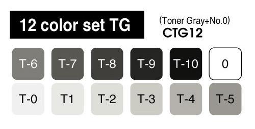 Copic Marker - 12 Toner Gray Set - COPIC CTG12