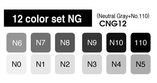 Copic Marker - 12 Neutral Gray Set - COPIC CNG12