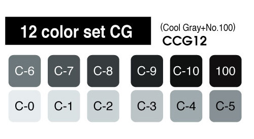 Copic Marker - 12 Cool Gray Set - COPIC CCG12