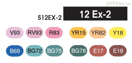 Copic Sketch Marker - 12 Ex-2 Color Set - COPIC S12EX-2