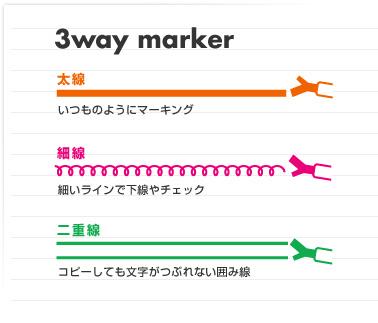 Kokuyo Beetle Tip 3way Highlighter Pen - Pink - KOKUYO PM-L301P