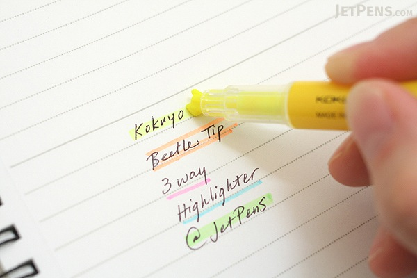 Kokuyo Beetle Tip 3way Highlighter Pen - Green - KOKUYO PM-L301G