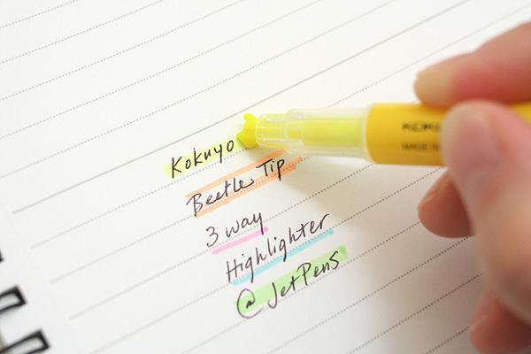 Kokuyo Beetle Tip 3way Highlighter Pen - Yellow - KOKUYO PM-L301Y