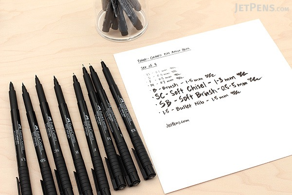 Faber-Castell PITT Artist Pen - India Ink - Black - Set of 8 - FABER-CASTELL FC167137