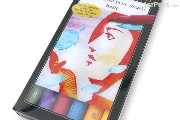 Faber-Castell PITT Artist Pen B Brush - India Ink - Basic - Set of 6 - FABER-CASTELL FC167103