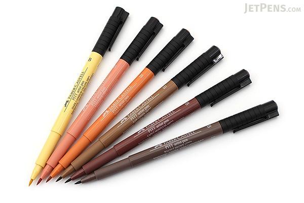 Faber-Castell PITT Artist Pen B Brush - India Ink - Terra - Set of 6 - FABER-CASTELL FC167106
