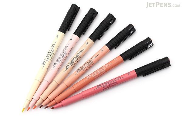 Faber-Castell PITT Artist Pen B Brush - India Ink - Skin Tones - Set of 6 - FABER-CASTELL FC167162