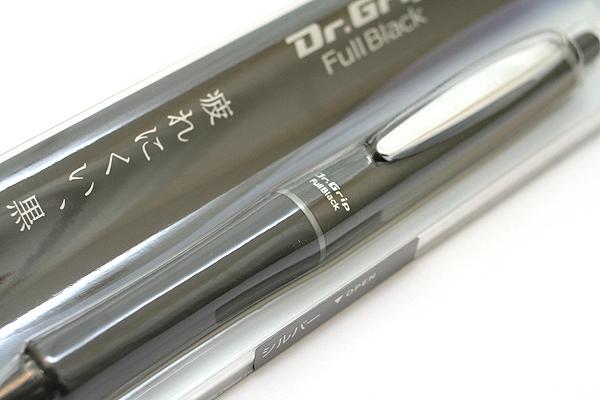 Pilot Dr. Grip Full Black Ballpoint Pen - 0.7 mm - Silver Accents - PILOT BDGFB-80F-S