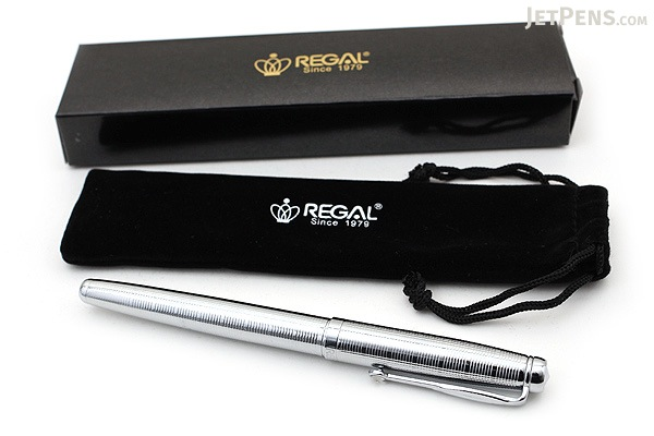 Regal 503 Hadrian Fountain Pen - Shiny Silver Chrome - Medium Nib - REGAL 503F-S