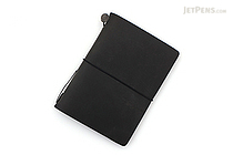 Traveler's Notebook Starter Kit - Passport Size - Black Leather - TRAVELER'S 15026006