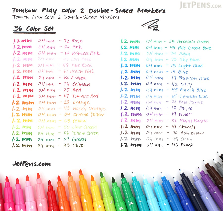 Tombow Play Color 2 Double-Sided Marker - 0.4 mm / 1.2 mm - 12 Color Set - TOMBOW GCB-011
