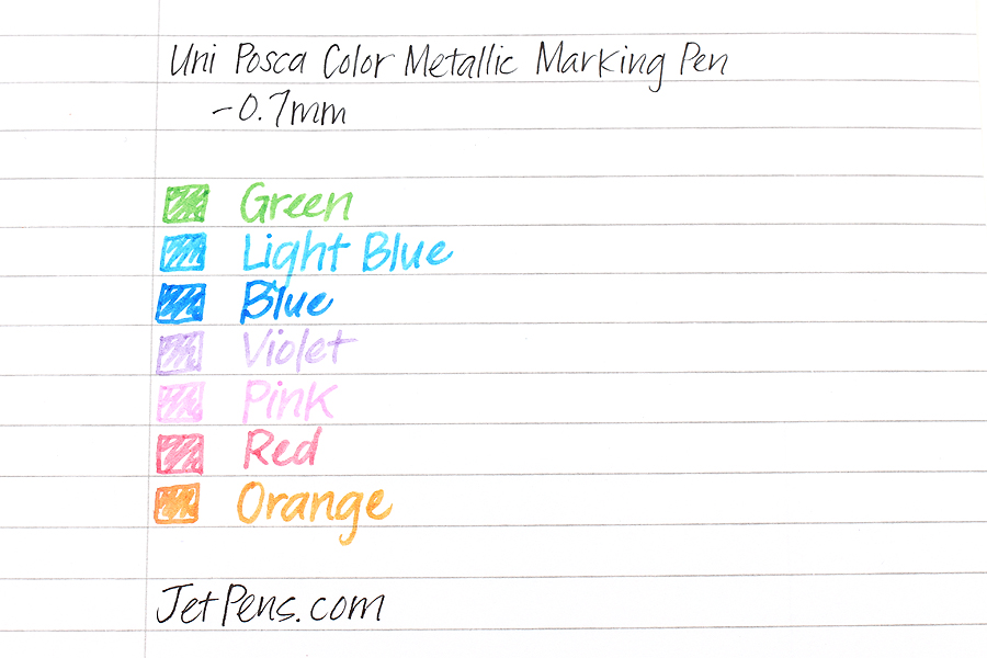 Uni Posca Color Metallic Marking Pen - 0.7 mm - Set of 7 - UNI PC1M 7C