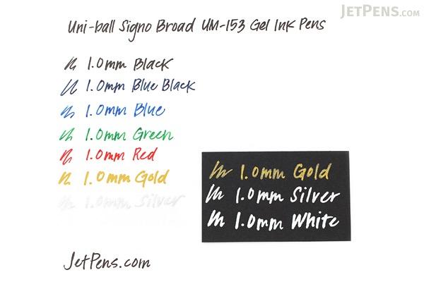Uni-ball Signo Broad UM-153 Gel Pen - Gold Ink - 10 Pen Bundle - JETPENS UNI UM153.25 BUNDLE