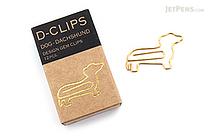 Midori D-Clips Paper Clips Mini Box - Dog - Dachshund - Box of 12 - MIDORI 43330-006