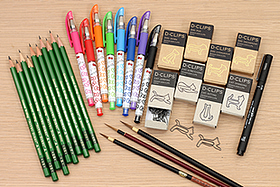 New Products: Hello Kitty Gel Pens, Cat and Dog Shaped Paper Clips, Natural Hair Brushes, Wooden Pencils, and More!