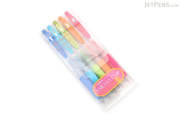 Zebra Sarasa Push Clip Gel Pen - 0.3 mm - 5 Color Set - ZEBRA JJH15-5CA