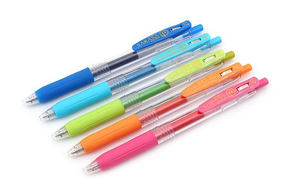 Zebra Sarasa Push Clip Gel Pen - 0.7 mm - 5 Color Set - ZEBRA JJB15-5CA