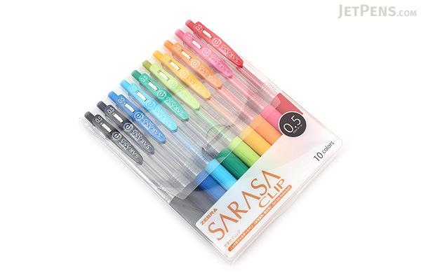 Zebra Sarasa Push Clip Gel Pen - 0.5 mm - 10 Color Set - ZEBRA JJ15-10CA