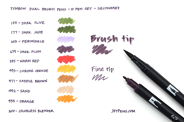 Tombow Dual Brush Pen - 10 Pen Set - Secondary - TOMBOW 56168
