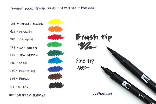 Tombow Dual Brush Pen - 10 Pen Set - Primary - TOMBOW 56167
