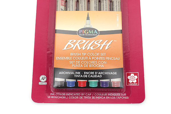 Sakura Pigma Brush Pen - 6 Color Set - SAKURA 38061