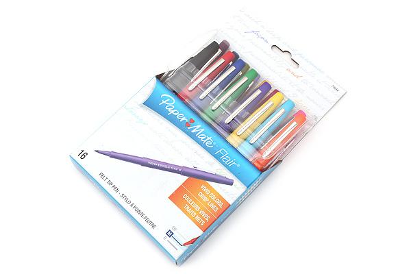 Paper Mate Flair Felt Tip Pen - Medium Point - 16 Color Set - PAPER MATE 70644