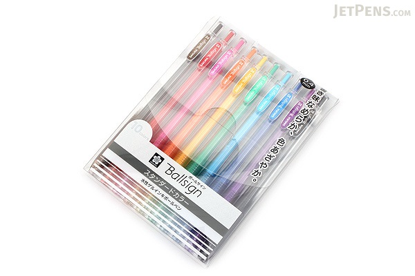 Sakura Ballsign Knock Gel Pen - 0.4 mm - 10 Color Set - SAKURA GBR154-10