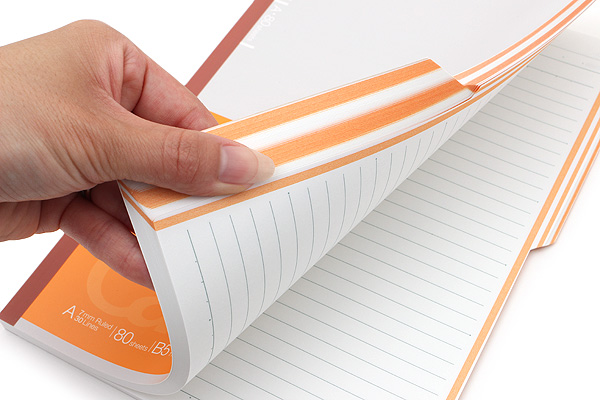 Kokuyo Campus Paracuruno Slanted Page Notebook - Semi B5 - Orange - KOKUYO NO-R8A-YR