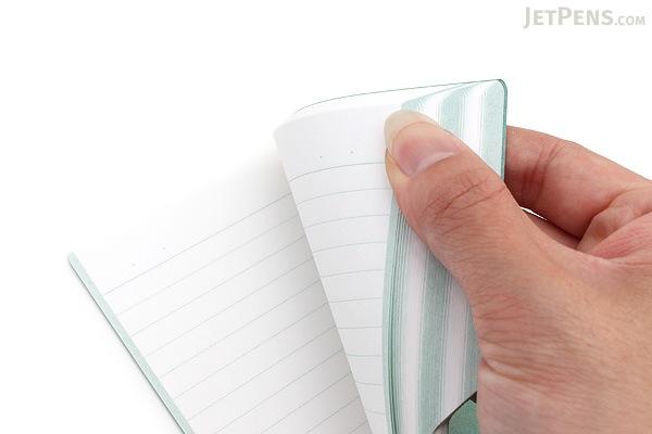 Kokuyo Design Paracuruno Slanted Page Notebook - A6 - Olive Green - KOKUYO NO-RD227B