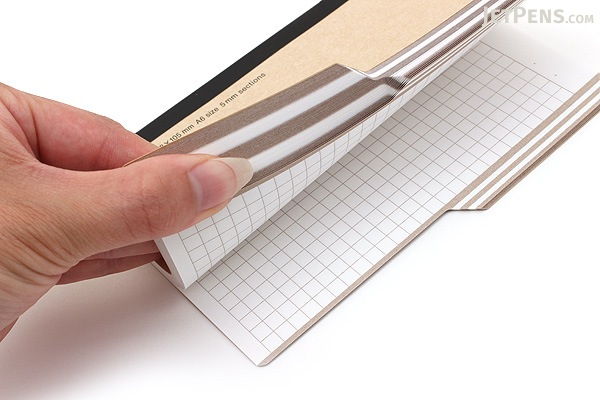Kokuyo Design Paracuruno Slanted Page Notebook - A6 - 5 mm Graph - Khaki Brown - KOKUYO NO-RD227S