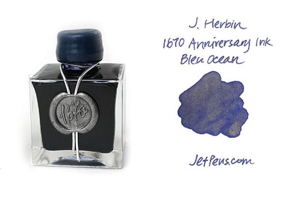 J. Herbin 1670 Anniversary Fountain Pen Ink - 50 ml Bottle - Bleu Ocean (Ocean Blue) - J. HERBIN H150/18