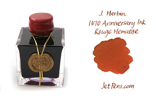 J. Herbin 1670 Anniversary Fountain Pen Ink - 50 ml Bottle - Rouge Hematite - J. HERBIN H150/26