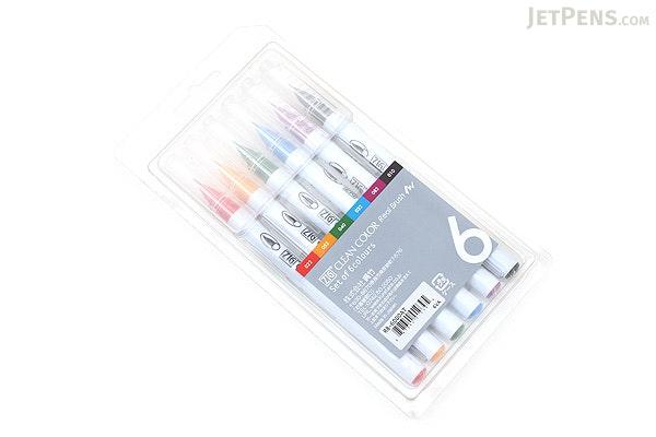 Kuretake Zig Clean Color Real Brush Pen - 6 Color Set - KURETAKE RB-6000AT-6VA