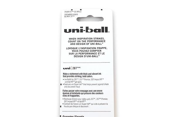 Uni-ball Signo 207 Retractable Gel Pen Refill - 0.7 mm - Black - Pack of 2 - UNI-BALL 70207PP
