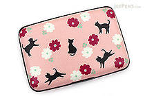 Kurochiku Japanese Pattern Accordion Card Case - Neko to Hana (Cat and Flower) - KUROCHIKU 71406603