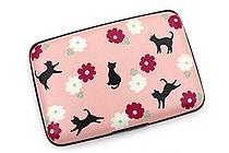 Kurochiku Japanese Pattern Accordion Card Case - Neko to Hana (Cat and Flower) - KUROCHIKU 71406603
