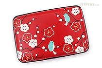 Kurochiku Japanese Pattern Accordion Card Case - Ume to Kotori (Plum and Little Bird) - KUROCHIKU 71406604