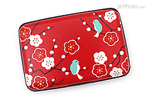 Kurochiku Japanese Pattern Accordion Card Case - Ume to Kotori (Plum and Little Bird) - KUROCHIKU 71406604