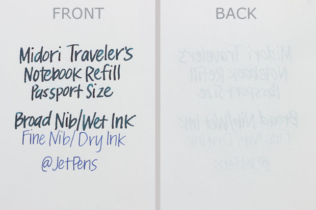 Midori Traveler's Notebook Refill - Passport Size Writing Sample
