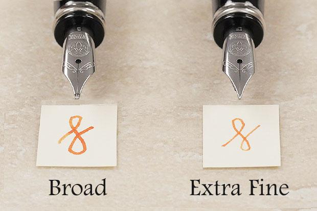 Broad nib vs extra fine nib