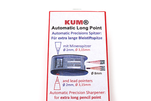 Kum Automatic Brake Long Point Pencil Sharpener - 2.0 mm or 3.2 mm + 2 Spare Blades - Blue - KUM 105.31.21