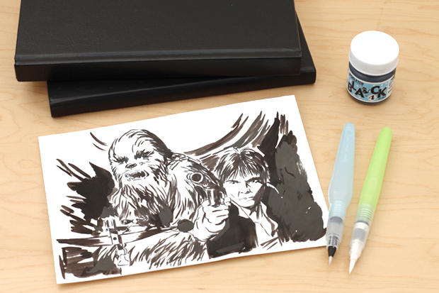 Drawing inks with water brushes