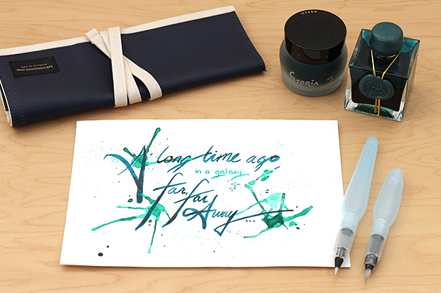 Fountain pen inks with water brushes